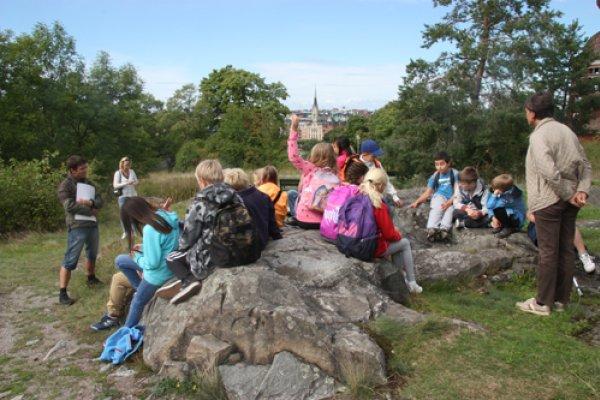 Nya Tidens Montessoriskola i Täby får skoglig kunskap under en Skogen i Skolan-lektion på Skansen