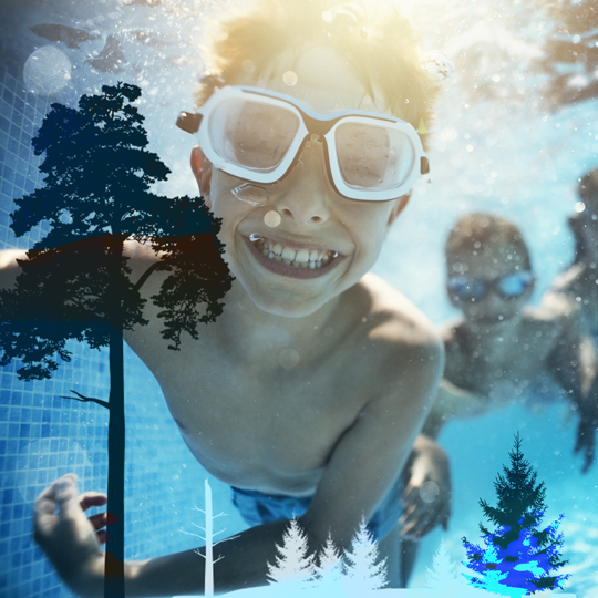 barn som badar i skog